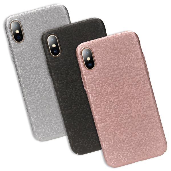 NALIA Handyhülle kompatibel mit iPhone X XS, Mosaik Slim Hard-Case Backcover Schutzhülle, Handy-Tasche im Metall-Look, Dünnes Glänzendes Karo Etui Skin Hülle Fliesen-Muster – Bild 1