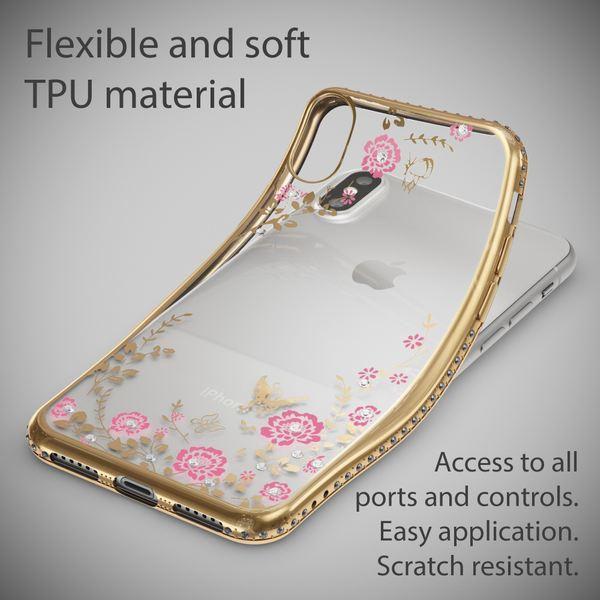 NALIA Hülle kompatibel mit iPhone X XS, Durchsichtiges Slim Silikon Case mit Blumen-Muster, Metall-Optik Glitzer-Steine Dünne Schutzhülle Cover, Bling Handy-Hülle Bumper Strass Etui – Bild 4