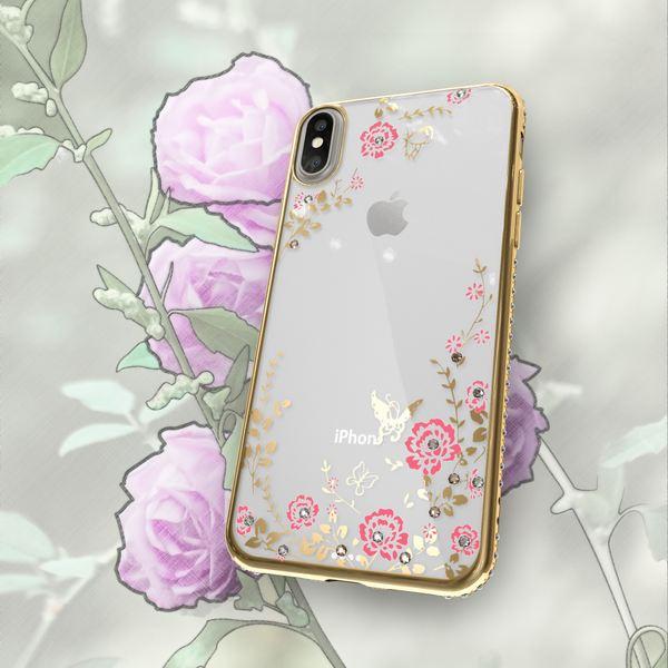 NALIA Hülle für iPhone X XS, Durchsichtiges Slim Silikon Case Blumen-Muster Handyhülle Metall-Optik Dünne Schutz-Hülle Glitzer Cover Strass Etui Bumper Handy-Tasche für Apple iPhone-XS X – Bild 6