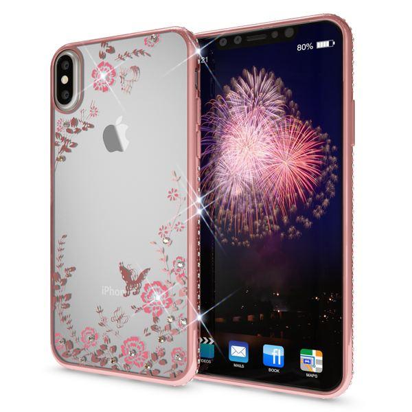 NALIA Hülle für iPhone X XS, Durchsichtiges Slim Silikon Case Blumen-Muster Handyhülle Metall-Optik Dünne Schutz-Hülle Glitzer Cover Strass Etui Bumper Handy-Tasche für Apple iPhone-XS X – Bild 7