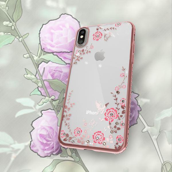 NALIA Hülle kompatibel mit iPhone X XS, Durchsichtiges Slim Silikon Case mit Blumen-Muster, Metall-Optik Glitzer-Steine Dünne Schutzhülle Cover, Bling Handy-Hülle Bumper Strass Etui – Bild 11