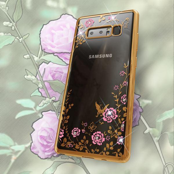 NALIA Handyhülle kompatibel mit Samsung Galaxy Note 8, Durchsichtiges Slim Silikon Case mit Blumen-Muster, Metall-Optik Glitzer-Steine Dünne Schutzhülle Cover, Bling Bumper Strass Etui – Bild 4