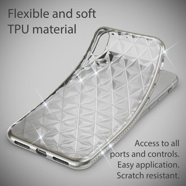 NALIA Hülle kompatibel mit iPhone X XS, Durchsichtiges Ultra-Slim Silikon Case Strass-Muster Handyhülle, Metall-Optik Schutzhülle Dünner Schutz Glitzer Bling Cover Etui Handy-Tasche – Bild 4