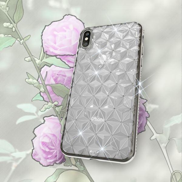 NALIA Hülle kompatibel mit iPhone X XS, Durchsichtiges Ultra-Slim Silikon Case Strass-Muster Handyhülle, Metall-Optik Schutzhülle Dünner Schutz Glitzer Bling Cover Etui Handy-Tasche – Bild 7
