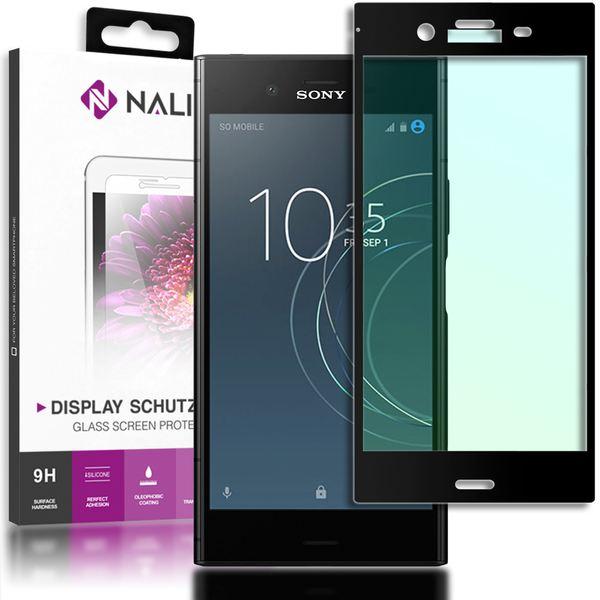 NALIA Schutzglas kompatibel mit Sony Xperia XZ1, 3D Full-Cover Displayschutz Handy-Folie, 9H Glas-Schutzfolie Bildschirm-Abdeckung, Schutz-Film Smart-Phone HD Screen Protector - Transparent (schwarz) – Bild 1