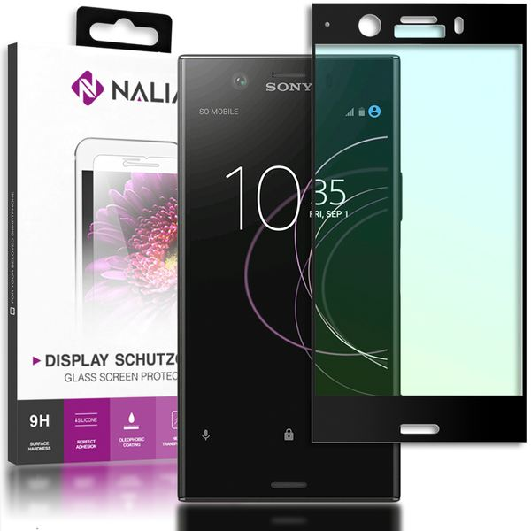 NALIA Schutzglas kompatibel mit Sony Xperia XZ1 Compact, 3D Full-Cover Displayschutz Handy-Folie, 9H Glas-Schutzfolie Bildschirm-Abdeckung, Schutz-Film HD Screen Protector - Transparent (schwarz) – Bild 1