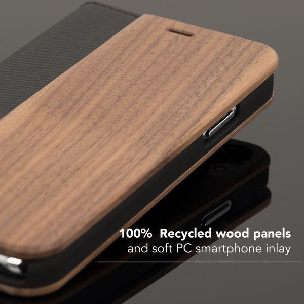 NALIA Echt-Holz Hülle kompatibel mit iPhone X XS, Handmade Natur-Holz Handy-Tasche Klapphülle Flip-Case Handyhülle, Dünnes Schutzhülle Kunst-leder Hardcase, Wood Book Cover Bumper – Bild 11