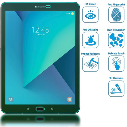 Samsung Galaxy Tab S3 Panzerglas Schutzfolie von NICA, 2.5D Round Edge Full-Cover Displayschutz-Folie, 9H Panzerfolie Schutz-Glas, Tablet Display-Abdeckung Panzer-Glasfolie Displayfolie - Transparent – Bild 2