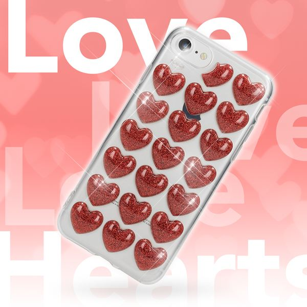 NALIA 3D Herz Handyhülle für iPhone 8 / 7, Silikon Glitzer Hülle Case Gummi Schutz, Soft Slim Cover Etui Dünne Handy-Tasche Ultra-Slim Back-Cover Skin Bumper für Apple i-Phone 7 / 8 – Bild 3