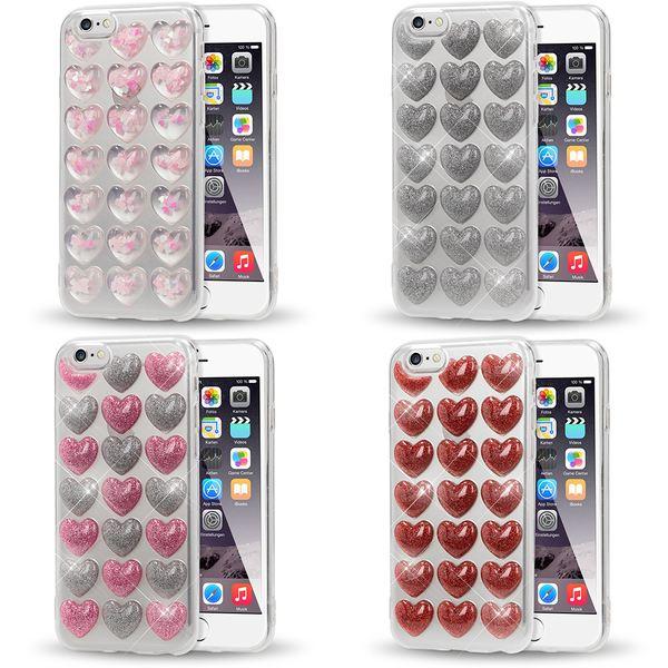 NALIA 3D Herz Hülle kompatibel mit iPhone 6 / 6S, Silikon Glitzer Handyhülle Case Schutzhülle Gummi, Soft Ultra-Slim Cover Etui Dünne Handy-Tasche, Backcover Skin Bumper – Bild 1