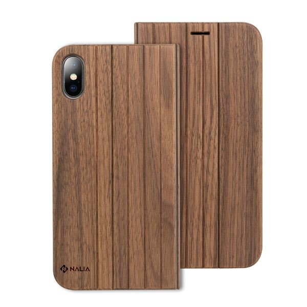NALIA Echt-Holz Hülle für iPhone X XS, Handmade Natur-Holz Handyhülle Handy-Tasche Klapphülle Flip-Case, Dünnes Slim Hard-Case Etui, Wood Book Cover Bumper für Apple i-Phone XS X - Walnuss – Bild 1