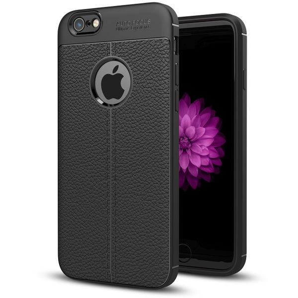 NALIA Leder-Look Hülle kompatibel mit iPhone 6 Plus / 6S Plus, Ultra-Slim Silikon Case Cover, Dünne Phone Handyhülle Schutzhülle, Etui Handy-Tasche Backcover Bumper, TPU Gummihülle - Schwarz – Bild 1