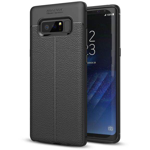 NALIA Leder-Look Hülle kompatibel mit Samsung Galaxy Note 8, Ultra-Slim Silikon Case Cover, Dünne Phone Handyhülle Schutzhülle, Etui Handy-Tasche Backcover Bumper, TPU Gummihülle - Schwarz – Bild 1