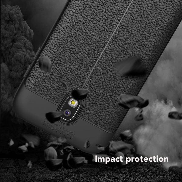 NALIA Leder-Look Hülle kompatibel mit Samsung Galaxy J3 2017, Ultra-Slim Silikon Case Cover, Dünne Phone Handyhülle Schutzhülle, Etui Handy-Tasche Backcover Bumper, TPU Gummihülle - Schwarz – Bild 5