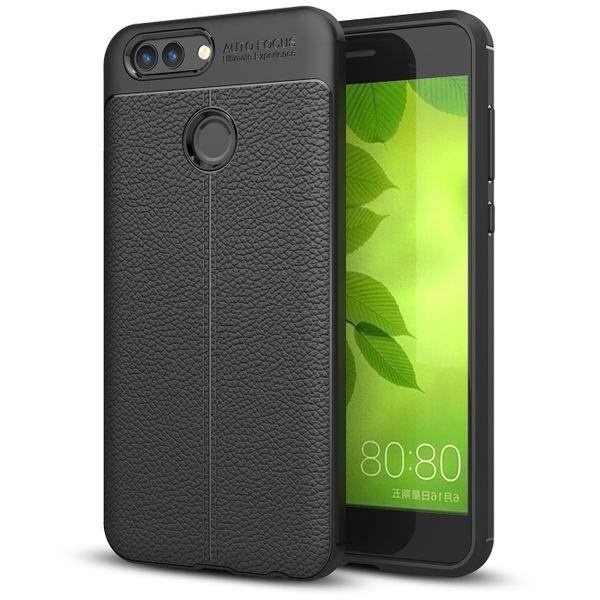 NALIA Leder-Look Handyhülle für Huawei Nova 2, Ultra Slim Silikon Case Cover, Dünne Struktur Smart-Phone Schutzhülle, Etui Handy-Tasche Back-Cover Bumper, TPU Gummihülle für Nova-2 - Schwarz – Bild 1
