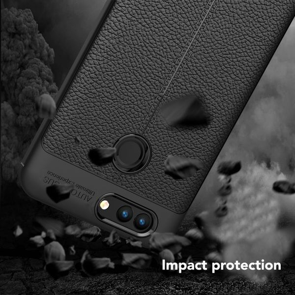 NALIA Leder-Look Handyhülle für Huawei Nova 2, Ultra Slim Silikon Case Cover, Dünne Struktur Smart-Phone Schutzhülle, Etui Handy-Tasche Back-Cover Bumper, TPU Gummihülle für Nova-2 - Schwarz – Bild 4