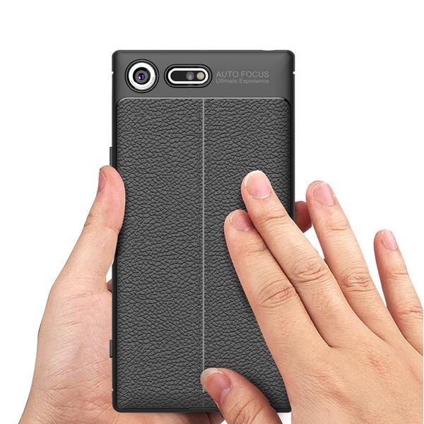 NALIA Leder-Look Hülle kompatibel mit Sony Xperia XZ Premium, Ultra-Slim Silikon Case Cover Dünne Phone Schutzhülle, Etui Handyhülle Handy-Tasche Backcover Bumper, TPU Smartphone Gummihülle - Schwarz – Bild 7