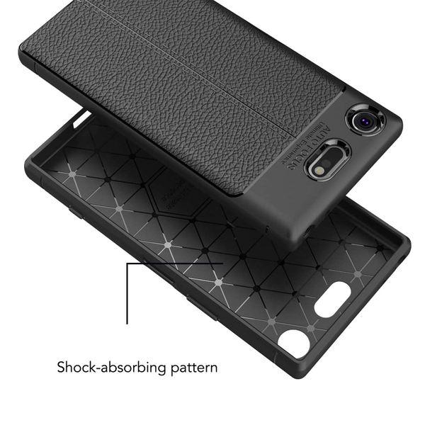 NALIA Leder-Look Hülle kompatibel mit Sony Xperia XZ1 Compact, Ultra-Slim Silikon Case Cover, Dünne Phone Schutzhülle Etui Handyhülle Handy-Tasche Backcover Bumper TPU Smartphone Gummihülle - Schwarz – Bild 6