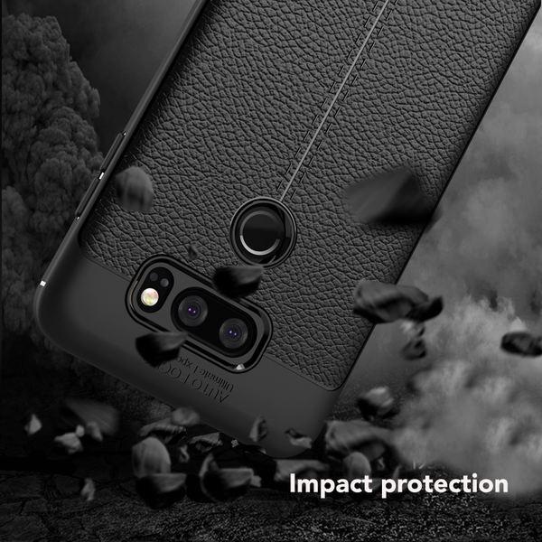 NALIA Leder-Look Hülle kompatibel mit LG V30, Ultra-Slim Silikon Case Cover, Dünne Phone Handyhülle Schutzhülle, Stoßfeste Etui Handy-Tasche Backcover Bumper, TPU Smartphone Gummihülle - Schwarz – Bild 4