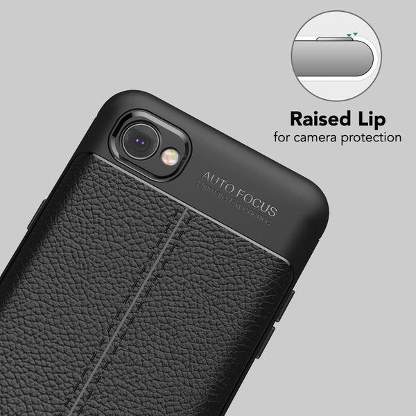 NALIA Leder-Look Handyhülle für LG Q6, Ultra Slim Silikon Case Cover, Dünne Phone Schutzhülle, Stoßfeste Etui Handy-Tasche Back-Cover Bumper, TPU Gummihülle für LG Q-6 Smartphone - Schwarz – Bild 3
