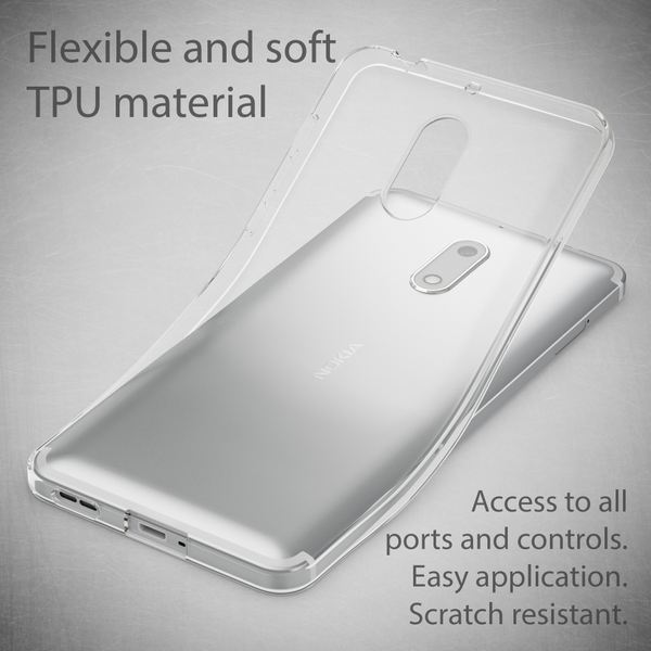 NALIA Handyhülle kompatibel mit Nokia 6, Ultra-Slim TPU Silikon Case Cover Crystal Clear Schutzhülle Dünn Durchsichtig, Etui Hülle Handy-Tasche Backcover Transparent, Smartphone Schutz Bumper – Bild 3