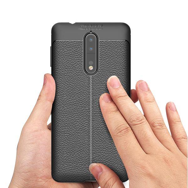 NALIA Leder-Look Hülle kompatibel mit Nokia 8, Ultra-Slim Silikon Case Cover, Dünne Phone Schutzhülle, Stoßfeste Etui Handy-Tasche Backover Handyhülle Bumper, TPU Smartphone Gummihülle - Schwarz – Bild 7