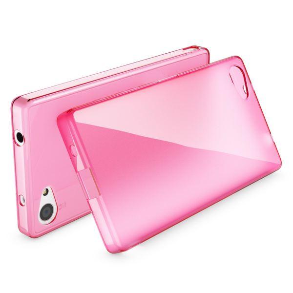 NALIA Handyhülle kompatibel mit Sony Xperia Z5 Compact (Mini), Ultra-Slim Silikon Smartphone Case, Dünne Crystal Schutzhülle, Etui Handy-Tasche Back-Cover Bumper, TPU Gummihülle - Transparent / Pink – Bild 2