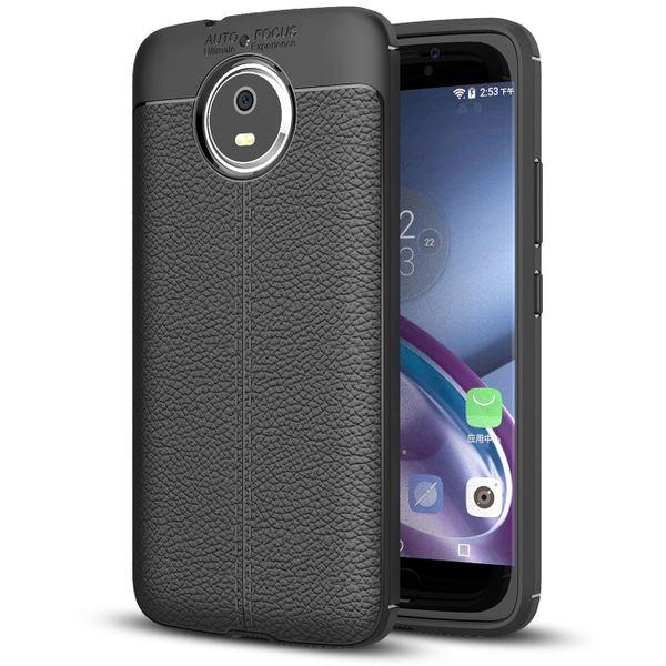 NALIA Leder-Look Handyhülle für Motorola Moto G5S, Ultra Slim Silikon Case Cover, Dünne Phone Schutzhülle, Stoßfeste Etui Handy-Tasche Back-Cover Bumper, TPU Gummihülle für Moto-G5S - Schwarz – Bild 1
