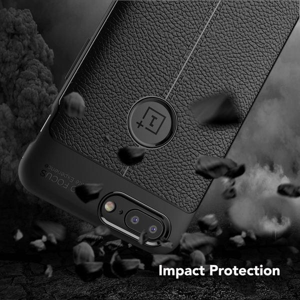 NALIA Leder-Look Hülle kompatibel mit OnePlus 5, Ultra-Slim Silikon Case Cover, Dünne Schutzhülle Handyhülle Stoßfestes Etui Handy-Tasche Backcover Bumper, TPU Gummihülle Smart-Phone - Schwarz – Bild 5