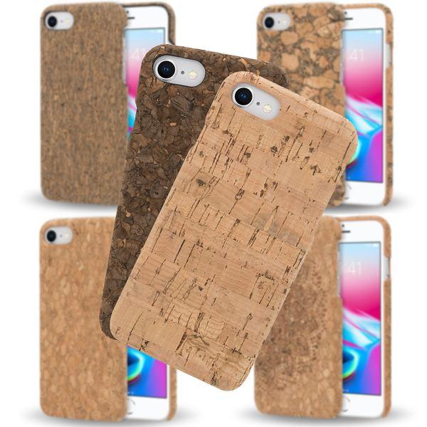 NALIA Kork Hülle kompatibel mit iPhone 8 / 7, Natur-Holz Look Handyhülle Handy-Tasche Dünnes Ultra-Slim Hardcase Schutz Etui Backcover Bumper Cover Case Schutzhülle – Bild 1