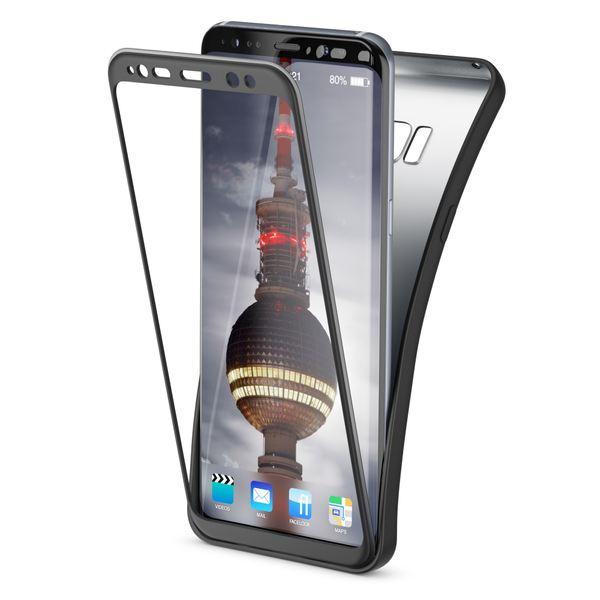 NALIA Rundum Hülle kompatibel mit Samsung Galaxy S8 Plus, TPU Rahmen vorne & hinten Dünnes Silikon Case, Doppel-Schutz Ultra-Slim Bumper, Full-Body Handyhülle Vorder & Rückseite - Schwarz  – Bild 1