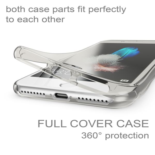 NALIA 360 Grad Handyhülle kompatibel mit Apple iPhone 7 Plus / 8 Plus, Full Cover vorne hinten Doppel-Schutz Dünnes Ganzkörper Case Silikon Transparenter Displayschutz & Rückseite – Bild 10