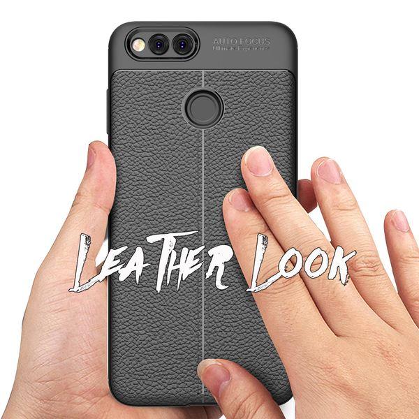 NALIA Leder-Look Handyhülle für Huawei Honor 7X, Ultra Slim Silikon Case Cover, Dünne Phone Schutzhülle, Stoßfeste Etui Handy-Tasche Back-Cover Bumper, TPU Gummihülle für Honor-7X - Schwarz – Bild 3