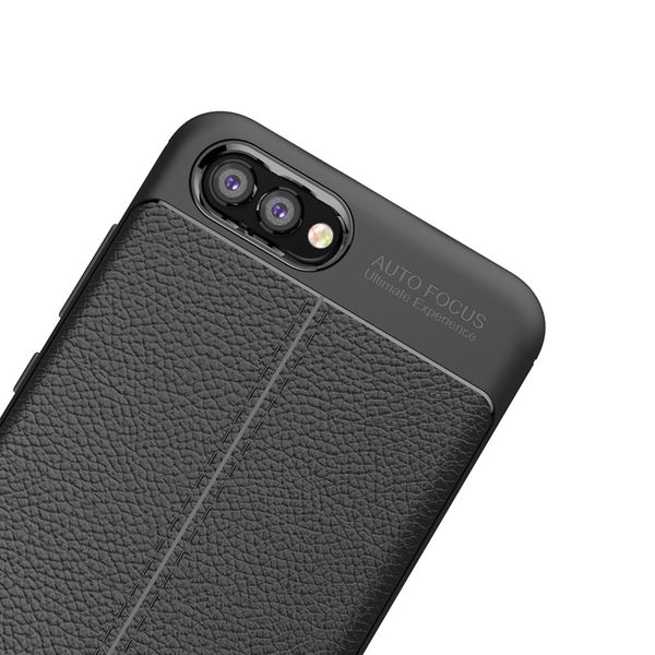 NALIA Leder-Look Handyhülle kompatibel mit Huawei Honor View 10, Ultra Slim Silikon Case Cover, Dünne Schutzhülle, Stoßfeste Etui Handy-Tasche Back-Cover Bumper, TPU Gummihülle – Schwarz – Bild 5