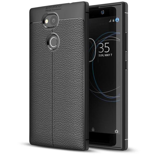 NALIA Leder-Look Handyhülle kompatibel mit Sony Xperia L2, Ultra Slim Silikon Case Cover, Dünne Phone Schutzhülle, Etui Handy-Tasche Back-Cover Bumper, TPU Gummihülle - Schwarz – Bild 1