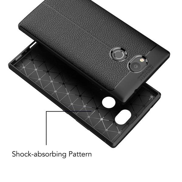 NALIA Leder-Look Handyhülle kompatibel mit Sony Xperia L2, Ultra Slim Silikon Case Cover, Dünne Phone Schutzhülle, Etui Handy-Tasche Back-Cover Bumper, TPU Gummihülle - Schwarz – Bild 4