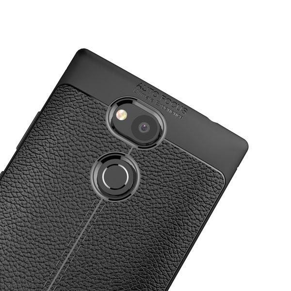 NALIA Leder-Look Handyhülle kompatibel mit Sony Xperia L2, Ultra Slim Silikon Case Cover, Dünne Phone Schutzhülle, Etui Handy-Tasche Back-Cover Bumper, TPU Gummihülle - Schwarz – Bild 5