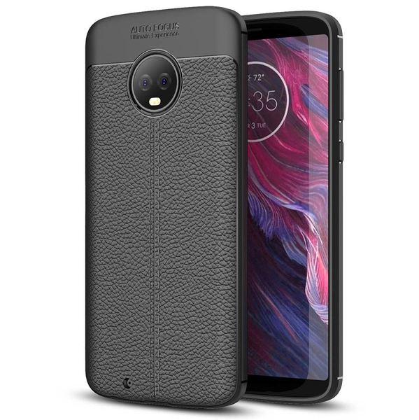 NALIA Leder-Look Handyhülle kompatibel mit Motorola Moto G6, Ultra-Slim Silikon Case Cover, Dünne Phone Schutzhülle, Stoßfeste Etui Handy-Tasche Back-Cover Bumper, TPU Gummihülle - Schwarz – Bild 1