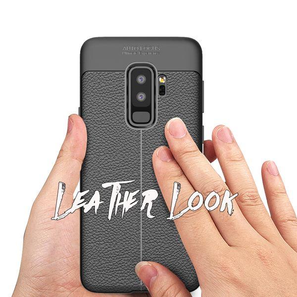 NALIA Leder-Look Handyhülle kompatibel mit Samsung Galaxy S9 Plus, Ultra Slim Silikon Case Cover, Dünne Smart-Phone Schutzhülle Etui Handy-Tasche Back-Cover Bumper, TPU Gummihülle - Schwarz – Bild 3
