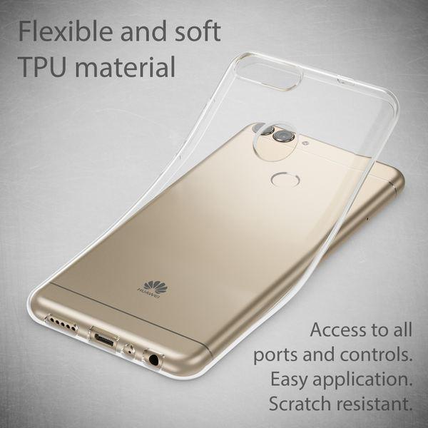 NALIA Handyhülle für Huawei P Smart, Soft Slim TPU Silikon Case Cover Crystal Clear Schutzhülle Dünn Durchsichtig, Etui Handy-Tasche Backcover Transparent, Phone Schutz Bumper für P-Smart – Bild 3