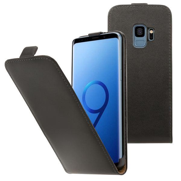 NALIA Handyhülle kompatibel mit Samsung Galaxy S9, Slim Flip-Case Kunst-Leder Handyhülle Vegan Cover mit Magnet, Etui Ganzkörper Schutz, Dünne Vorne Hinten Handy-Tasche Bumper  - Schwarz – Bild 1