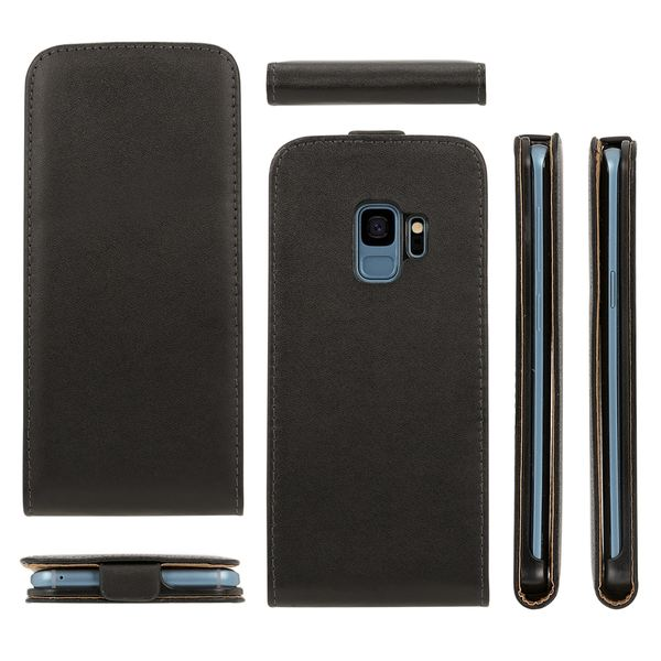 NALIA Handyhülle kompatibel mit Samsung Galaxy S9, Slim Flip-Case Kunst-Leder Handyhülle Vegan Cover mit Magnet, Etui Ganzkörper Schutz, Dünne Vorne Hinten Handy-Tasche Bumper  - Schwarz – Bild 5