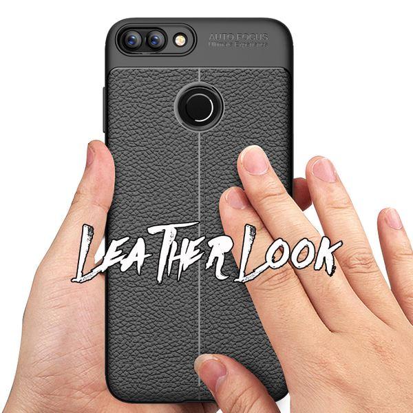NALIA Leder-Look Handyhülle kompatibel mit Huawei P Smart, Ultra Slim Silikon Case Cover, Dünne Struktur Smart-Phone Schutzhülle, Etui Handy-Tasche Back-Cover Bumper, TPU Gummihülle - Schwarz – Bild 6