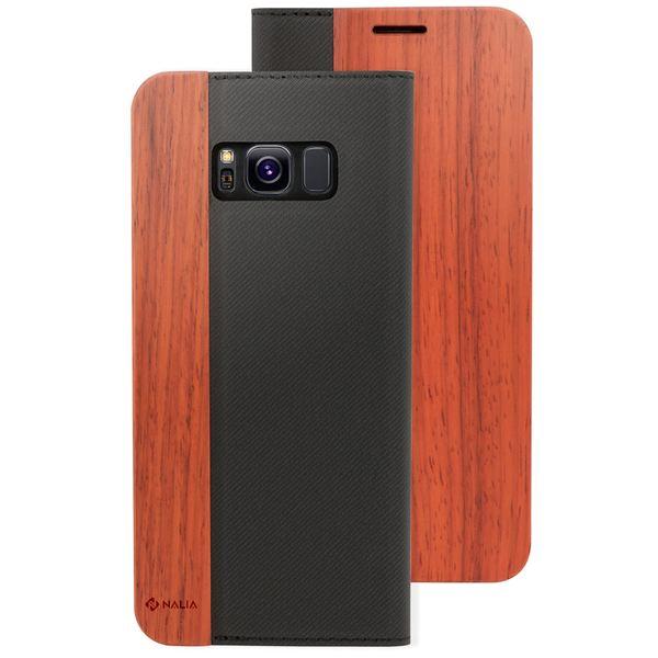 NALIA Echt-Holz Handyhülle kompatibel mit Samsung Galaxy S8, Handmade Natur-Holz Handy-Tasche Klapphülle Flip-Case, Dünnes Slim Kunst-leder Hardcase, Wood Book Cover Bumper – Bild 9