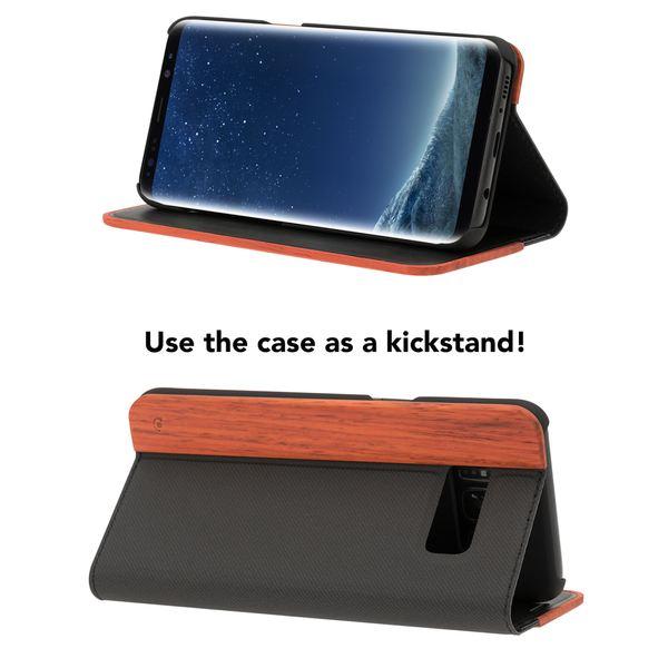 NALIA Echt-Holz Handyhülle kompatibel mit Samsung Galaxy S8, Handmade Natur-Holz Handy-Tasche Klapphülle Flip-Case, Dünnes Slim Kunst-leder Hardcase, Wood Book Cover Bumper – Bild 18
