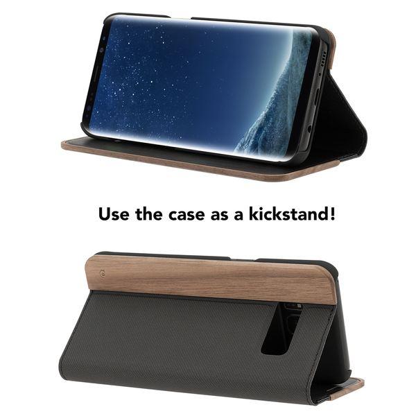 NALIA Echt-Holz Handyhülle für Samsung Galaxy S8 Plus, Handmade Natur-Holz Handy-Tasche Klapphülle Flip-Case, Dünnes Slim Kunst-leder Hardcase, Wood Cover Bumper für Samsung S8+ – Bild 4