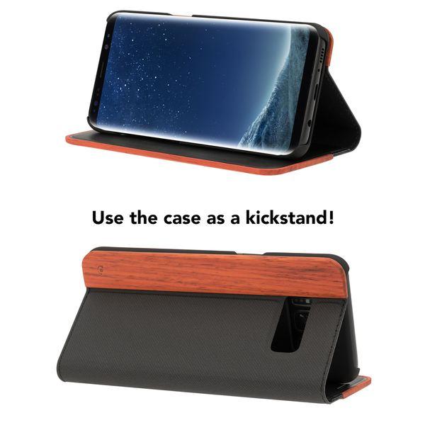 NALIA Echt-Holz Handyhülle für Samsung Galaxy S8 Plus, Handmade Natur-Holz Handy-Tasche Klapphülle Flip-Case, Dünnes Slim Kunst-leder Hardcase, Wood Cover Bumper für Samsung S8+ – Bild 11