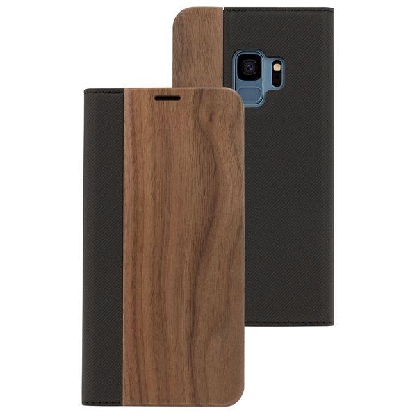NALIA Echt-Holz Handyhülle für Samsung Galaxy S9, Handmade Natur-Holz Handy-Tasche Klapphülle Flip-Case, Dünnes Slim Kunst-leder Hardcase, Wood Book Cover Bumper für Samsung S9 – Bild 2