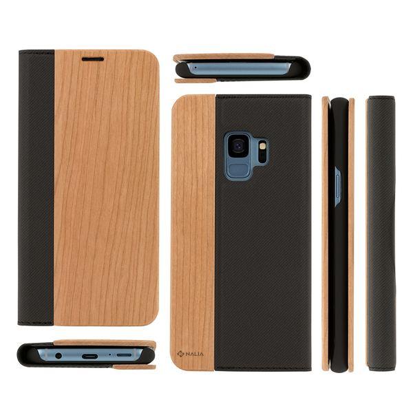 NALIA Echt-Holz Handyhülle kompatibel mit Samsung Galaxy S9, Handmade Natur-Holz Handy-Tasche Klapphülle Flip-Case, Dünnes Slim Kunst-leder Hardcase, Wood Book Cover Bumper – Bild 7