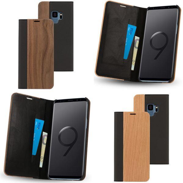 NALIA Echt-Holz Handyhülle kompatibel mit Samsung Galaxy S9, Handmade Natur-Holz Handy-Tasche Klapphülle Flip-Case, Dünnes Slim Kunst-leder Hardcase, Wood Book Cover Bumper – Bild 1